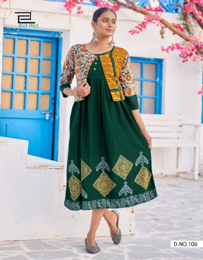 dark green rayon | length - 46 fabric printed work casual