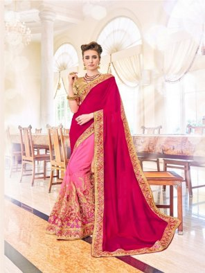 rani pink georgette fabric embroidery work party