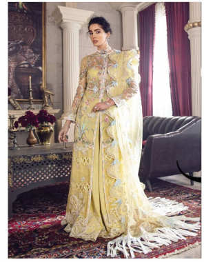 yellow top - butterfly net with heavy embroidery and hand work   bottom - santoon   dupatta - butterfly net with heavy embroidery and two side borders [ pakistani copy ] fabric heavy embroidery work party wear