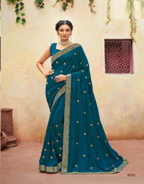 rama blue p * p vichitra dyed + fancy banarasi border ( full saree lace ) with embroidery butta with diamond work + fancy  blouse fabric embroidery work casual