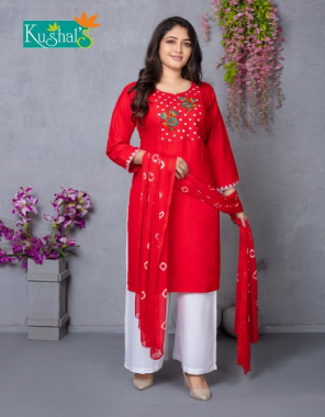 red top - rayon mirror embroidery work   bottom- rayon plazzo   dupatta - nazmin batique fabric mirror work + embroidery work casual