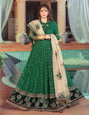 dark green top - pure cotton with embroidery   bottom - cotton   dupatta - net with embroidery [ pakistani copy ] fabric embroidery work festive