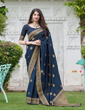 navy blue banarasi soft silk fabric jacquard + weaving work festive