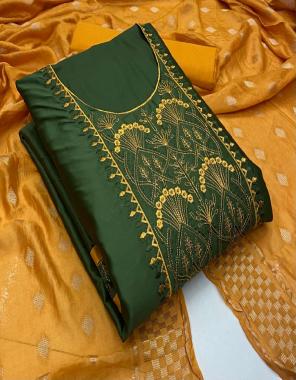 dark green top - heavy de - jam neck cotton work ( 1.9m)   bottom - cotton ( 2.5 m)   dupatta - dyeble zequard ( 2.10m) fabric embroidery work casual