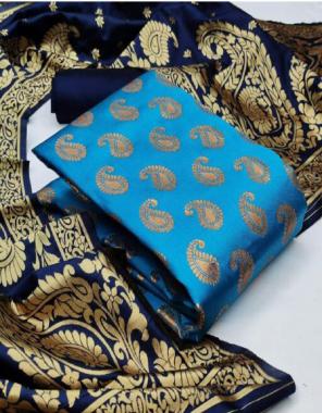 sky blue top - banarasi silk ( 2m) | bottom - heavy silk ( 2m) | dupatta - jacquard weaving ( 2.30m)  fabric jacquard + weaving work casual