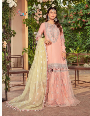 peach top - pure cotton with self embroidery   bottom - semi lawn   dupatta - embroidered net & tuby silk [ pakistani copy ] fabric embroidery  work casual