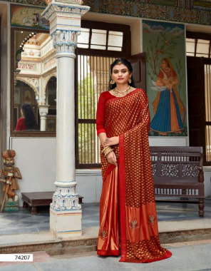 red banarasi silk fabric weaving work casual