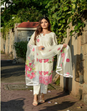white top - pure cambric cotton with chicken work and heavy embroidery   bottom - semi lawn   dupatta - butterfly net with heavy embroidery work [ pakistani copy ] fabric heavy embroidery work ethnic