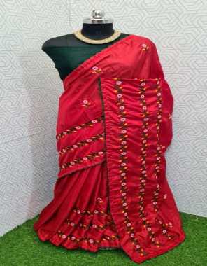 red dhola silk fabric embroidery work ethnic