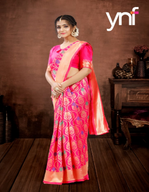 pink poly silk fabric jacquard + weaving work party wear