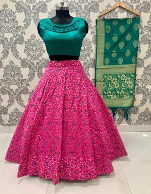 pink lehenga - brocade fabric lehenga with | inner - cancan & canvas semi stitched | size - upto 42 | length - 42 |blouse - pure silk designer blouse fully stitch size up to 42 | dupatta - pure banarasi silk fabric jacquard + weaving work casual