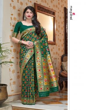 dark green banarasi silk fabric jacquard + weaving work casual