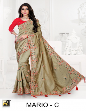 red cotton fabric printed work festive