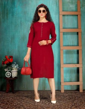 red rayon fabric hand work work casual