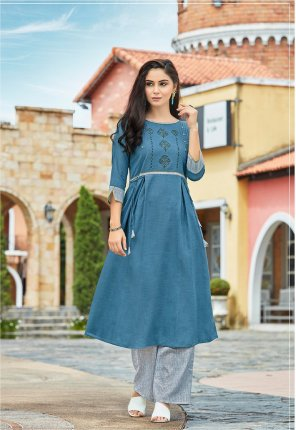 blue linen fabric embroidery work casual wear