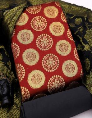 maroon silk fabric self work casual