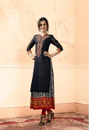 black banaras fabric embroidery work festive wear