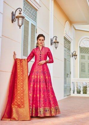 red silk fabric bandhani print work party
