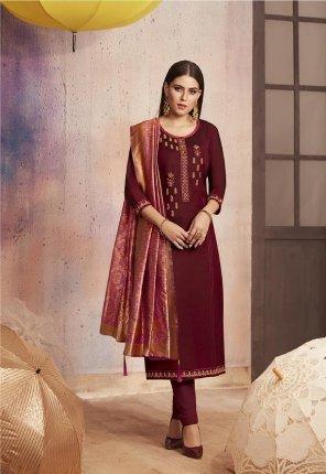 maroon fancy silk fabric embroidery work festive wear