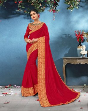 red silk fabric printed work party