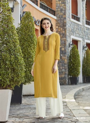 yellow rayon fabric plain work casual wear