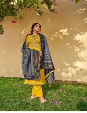 yellow linen silk fabric kaantha work party