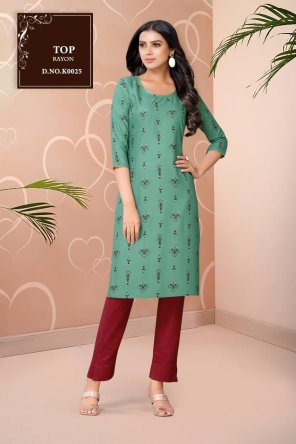green rayon fabric printed work party