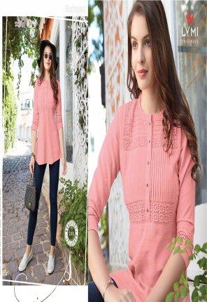 peach rayon fabric schiffli work casual wear