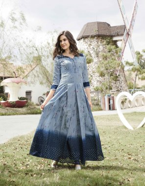 blue chanderi silk fabric shiffli work casual wear