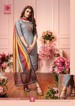 red chanderi silk fabric embroidery work party