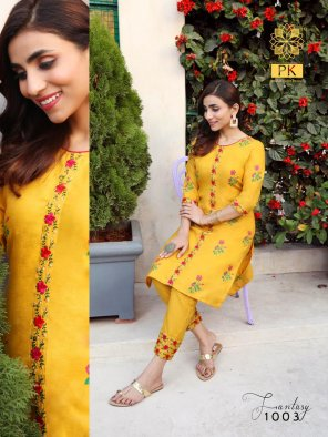 yellow heavy cotton fabric embroidery work festive