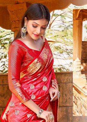 red soft naylon krystal fabric weaving work party