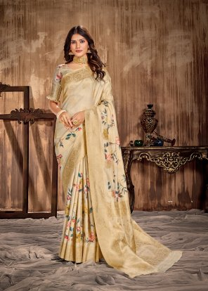 golden soft silk fabric printed work party