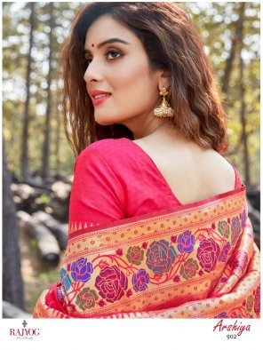 red pure paithini silk fabric printed work party