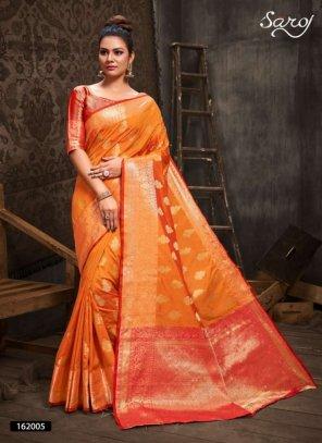 orange silk fabric jaquard print work party