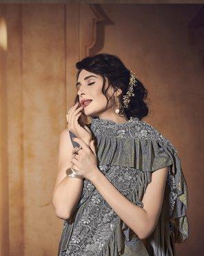 grey vichitra silk fabric ruffle style work festive