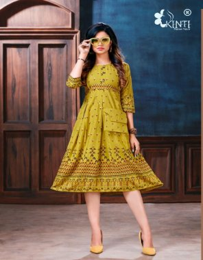 yellow rayon fabric printed work festive