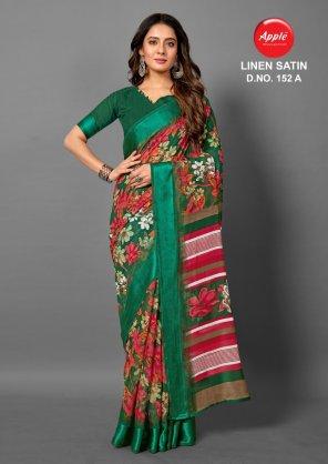 green linen satin fabric printed work festive
