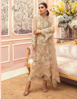 white net fabric embroidery work casual