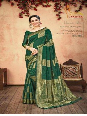 green banarasi silk fabric jequard work party