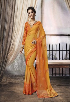 orange chiffon fabric brasso work party wear