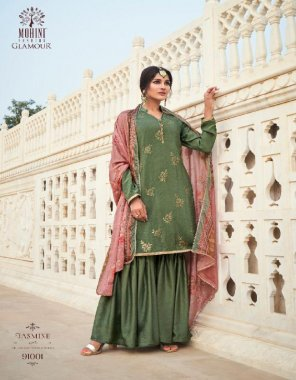 green crepe silk fabric embroidery work party