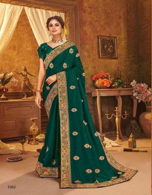 green vichitra silk fabric printed work festive