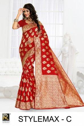orange silk fabric printed work casual