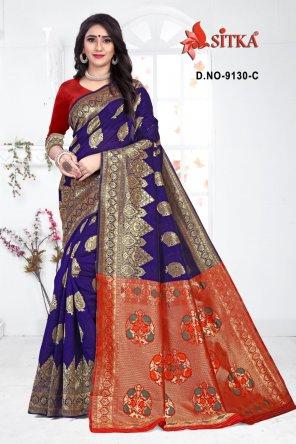 orange cotton silk fabric printed work festive