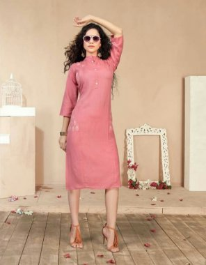 pink rayon fabric printed work party