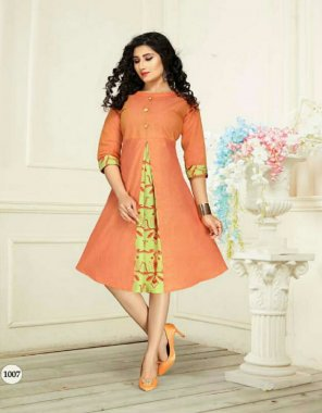 orange cotton fabric printed work casual