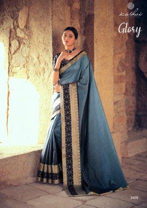 blue vichitra silk fabric jequard work festive
