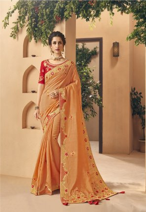 orange dolla silk fabric embroidery work wedding wear