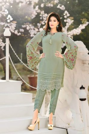 green georgette fabric embroidery work festive